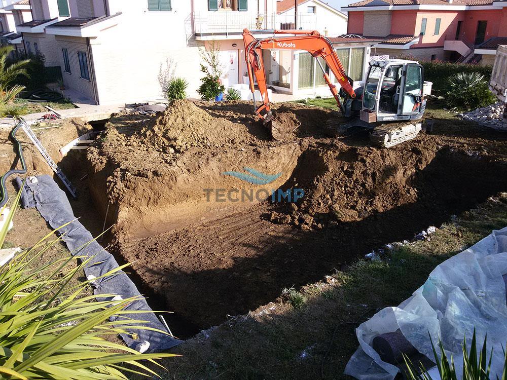Costruzione piscina in cemento armato controterra